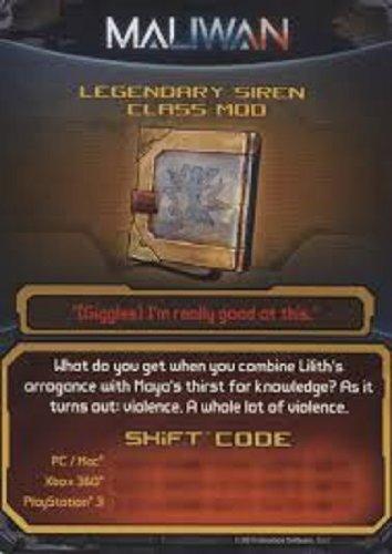 Borderlands 2 Legendary Siren Class Mod DLC CARD SHIFT CODES PACK [NO GAME] FOR XBOX 360, PS3, & PC/MAC (Siren Shift)