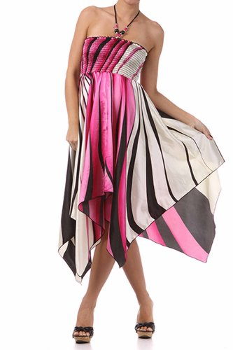 (FOSatinSwirl12-5331 Swirl Design Satin Feel Beaded Halter Smocked Bodice Handkerchief Hem Dress -)
