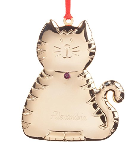 Fox Valley Traders Personalized Brass Birthstone Cat Ornament - June
