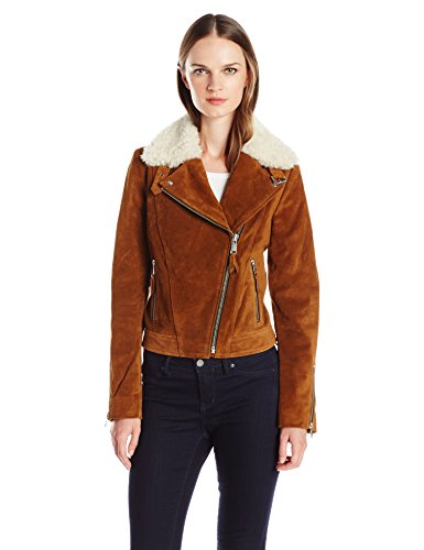 (Andrew Marc Women's Sage Leather Jacket with Dyed Sheep Collar with Zipper Sleeve Detail, Cognac M)