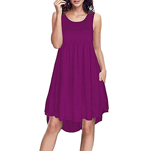 OTTATAT Casual Dress, Woman O-Neck Lace Short Sleeves Above Knee Loose Evening Dress Women O Neck Casual Sleeveless Pockets Sleeveless Above Knee Length Evening Dress 2019 New D-Purple]()