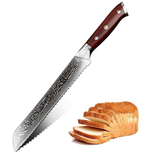 XINZUO 9 Inch Bread Knife High Carbon 67 Layer Japanese VG10 Damascus Super Steel Kitchen Knife Professional Chef's Cake Knife with Rosewood Handle - Yu Series ()