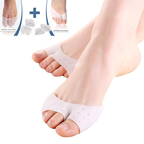 Vayne 4 PCS Forefoot Cushions Cushioning Pads - Gel Soft Metatarsal Ball of Foot Caps for Prevent Calluses and Blisters - Ballet Pointe Dance Athlete Sandals Shoe Pads for Girls/ Women