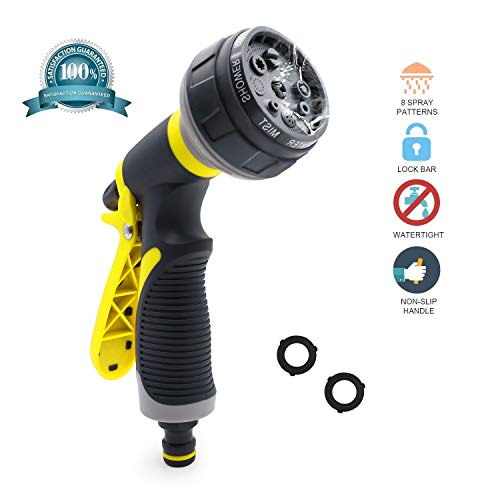 helicuang Garden Hose Nozzle/Hand Sprayer – Free High Pressure Heavy Duty 8 Pattern Watering Nozzle Best for Hand Watering Plants & Lawn, Car Washing, Patio, Dog & More. Leak Free Guarantee(Yellow)