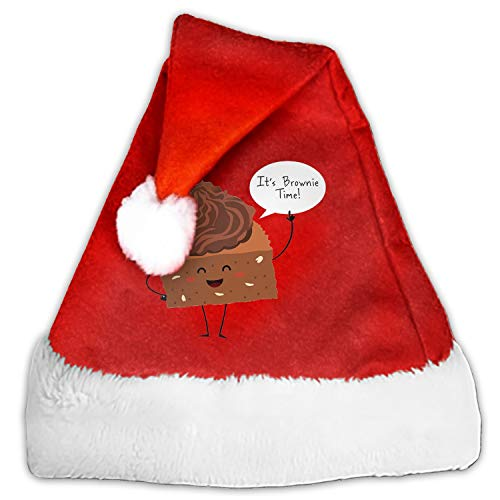 Brownie TIME Santa Claus Cap for Unisex-Adults Xmas Party with Plush Trim and Comfort -
