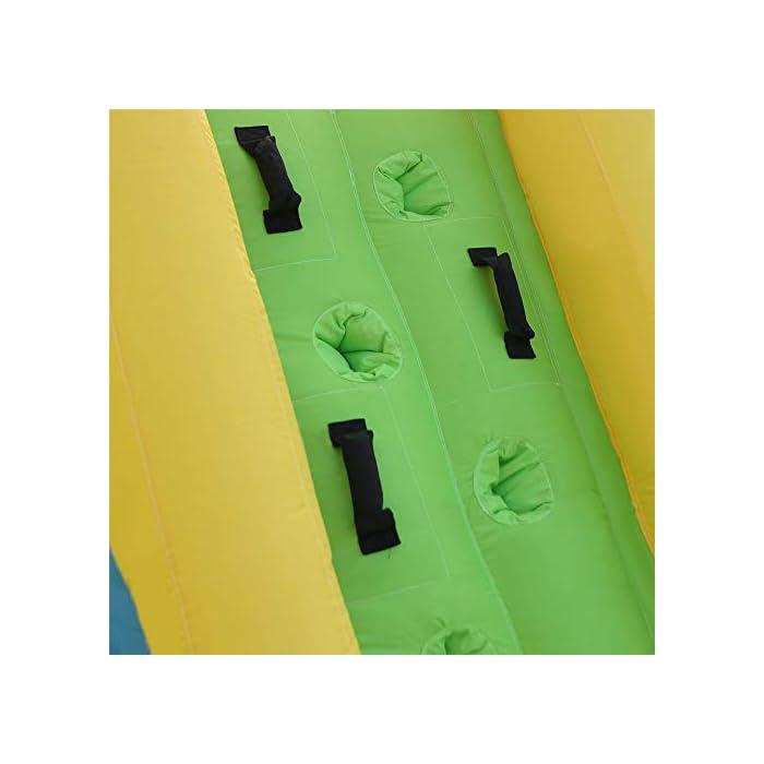 41M%2BEoDkG4L ✦ SEGURIDAD: la parte superior tiene un gran muro de malla que rodea el área de salto, manteniendo a su hijo seguro mientras salta y permitiendo la máxima ventilación. Además, puede conocer todas las acciones a través de la red de malla. M MATERIALES DE ALTA CALIDAD: los muros de escalada, los toboganes curvos y las grandes piscinas para niños están hechos de un material 420D Oxford muy resistente a los pinchazos, mientras que el área de rebote se hace desde el exclusivo 840D Oxford para mejorar su durabilidad. INF INFLACIÓN RÁPIDA: establezca esta hamaca sin importar en el patio, el parque, el césped con un soplador de flujo continuo y de servicio pesado. Con nuestro potente soplador, sus hijos recibirán un maravilloso castillo inflable en 1 a 3 minutos.