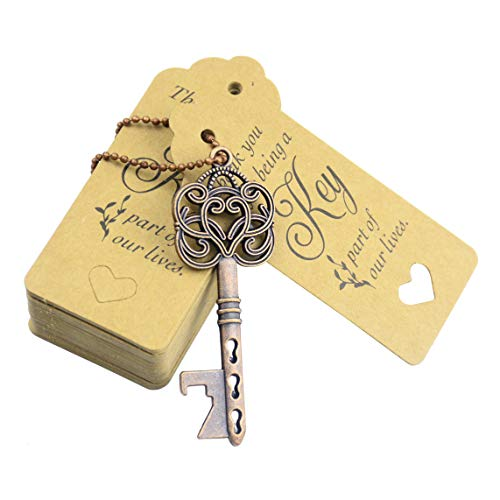 Makhry 52pcs Vintage Skeleton Key Bottle Opener Party Favor Wedding Favor Guest Souvenir Gift Set with Escort Thank You Tag Card Fench Ribbon (Antique Copper) -