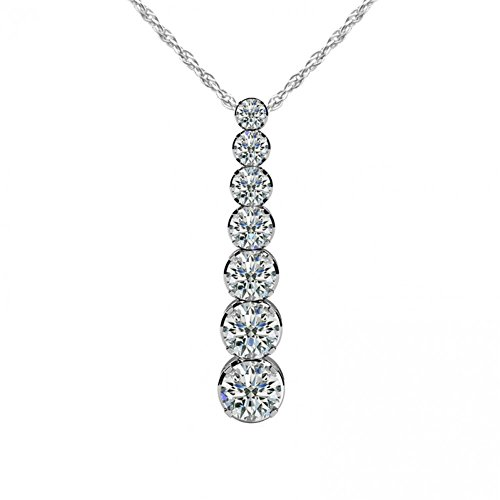 Prong Seven Pendant Journey Diamond - 1.50 ct. Round Diamond Seven Stone Graduated Journey Pendant