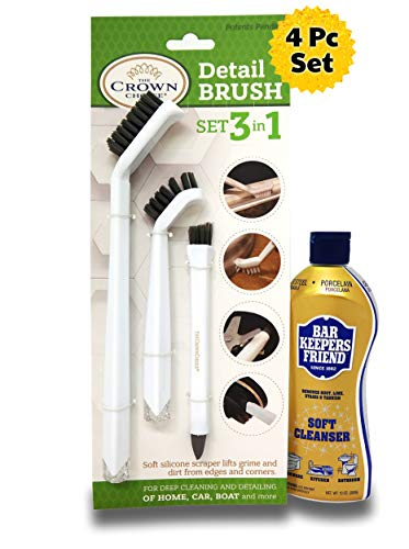 BAR KEEPERS FRIEND Soft Cleanser with 3-in-1 Detail Grout Cleaning Brush Set | Deep Clean Stove top, Bathtub, Tiles, Kitchen, Bathroom, Car, Boats (Best Friend In Polish)
