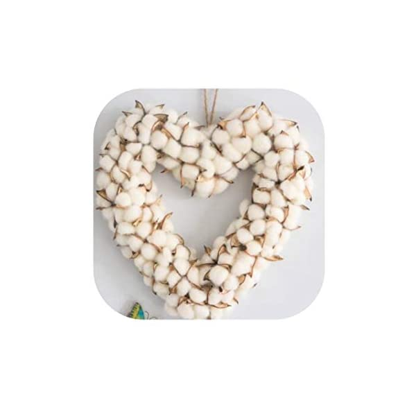 Artificial Cotton Flowers Wreath White Wedding Decoration Handmade Craft Heart Wreath for Door Winder Wall Home Decor Ornaments,About 35Cm