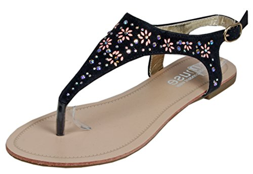 Blonna - coole Sandale mit Metallsteinen Pailetten Knöchelriemchen Schaft Zehentrenner LederOptik Damen Sommer Schuhe 36 37 38 39 40 41 Blüten Schwarz