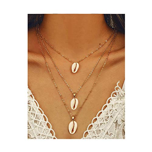 CEALXHENY Bohemian Sea Shell Pendant Chokers Necklaces Multi Layer Conch Necklace Collar for Women Beach Jewelry Accessories (D White Shell) ()