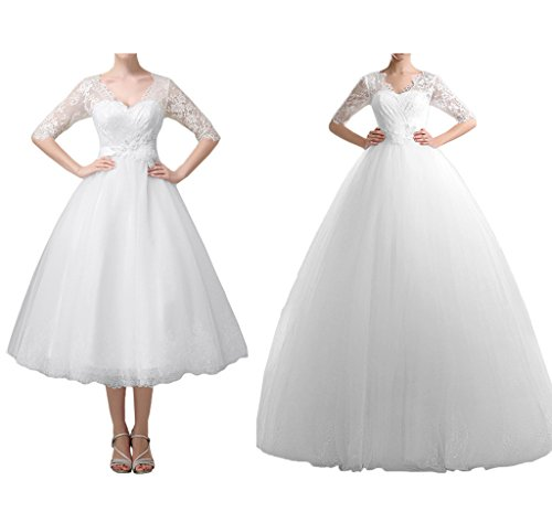 MILANO BIDE Modest Wedding Party Dress 1/2 Sleeves Ball Gown V-neck Lace-26W-Floor Length