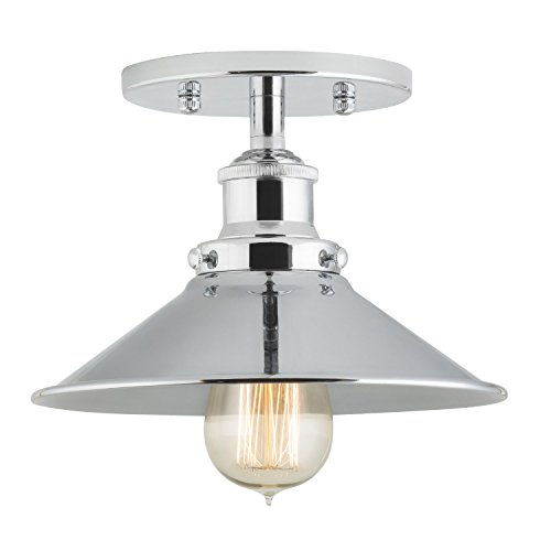 Linea di Liara Andante Industrial Factory Semi Flushmount Ceiling Lamp - Polished Chrome One-Light Fixture with Metal Shade Exposed Hardware - 5-Inch Canopy - Downlight Modern Vintage LL-C407-PC - Downlight Semi Flush
