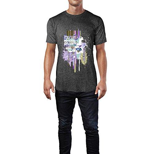 SINUS ART® Frauengesicht vor abstrakter Typographie Herren T-Shirts in dunkelgrau Fun Shirt mit tollen Aufdruck
