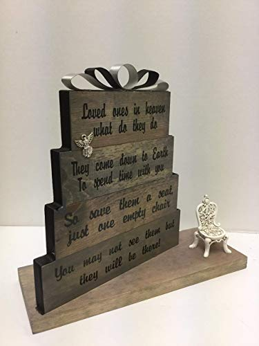 Loved Ones in heaven, what do they do? Stained Grey with black and ivory accented ribbon and antique chair