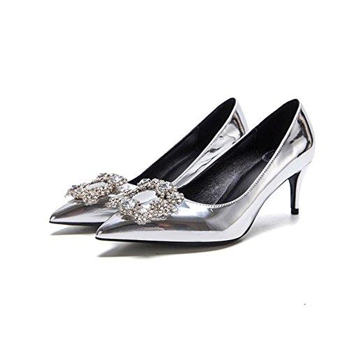 Plata Apuntado Pu Seda Fine Mujer Profunda Sunny Zapatos Tacón 6cm F338 Talón Poco De Boca Rhinestone Alto 2 Boda xXwTwqz