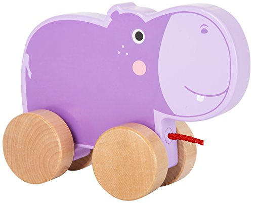 Small Foot 10611 Toy Made of Wood with a Cute, Lilac Hippo on Four Natural Wheels and Long String for Pulling Along
