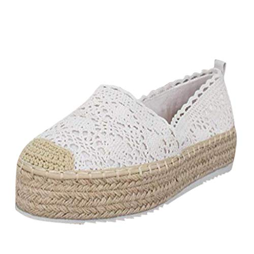 Sunhusing Womens Cutout Hemp Woven Wedge Platform Casual Sandals Hook Flower Round Toe Breathable Espadrilles Shoes White