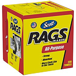 Wiping Rags - Kimberly-Clark Scott 75260 Rags in a Box, White (200 Towels)
