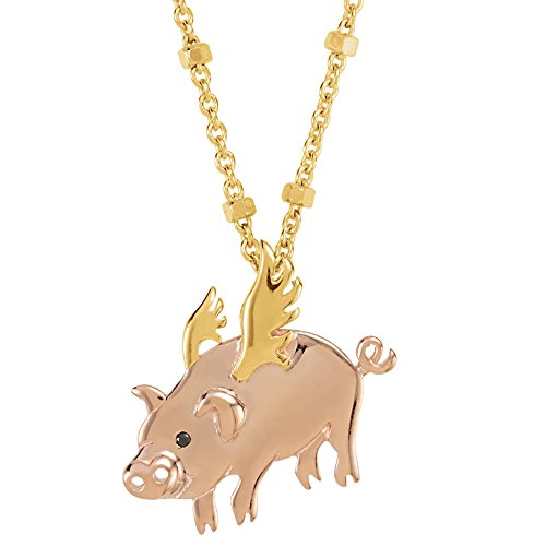 Black Onyx 18k Yellow Gold Vermeil Flying Pig Symbol for Luck 17