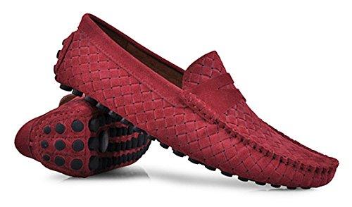 Tda Mens Rand Multi Färgen Heta Mocka Mockasin Loafers Båt Skor Style2 Vinröd
