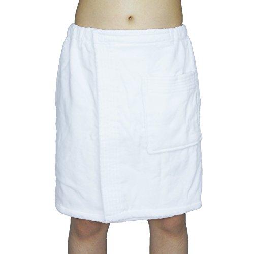 (Men's 100% Turkish Cotton Towels Terry Velour Body Wrap Bath Spa Towel Adjustable Top (White))