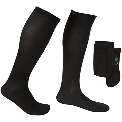 EvoNation Men's USA Made Graduated Compression Socks 15-20 mmHg Moderate Pressure Medical Quality Knee High Orthopedic Support Stockings Hose - Best Comfort Fit, Circulation, Travel (XXL, Black)