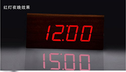 Amazon.com: Creative wood alarm clock table clock night Photonics simple digital wood clock clock mute LED wood clock,Wood white: Home & Kitchen