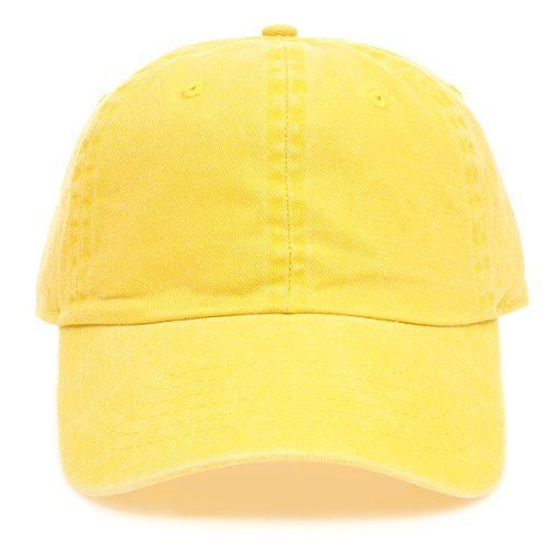 22fc2c21 MIRMARU Low Profile Vintage Washed Pigment Dyed 100% Cotton Adjustable Baseball  Cap Hat.(Yellow)