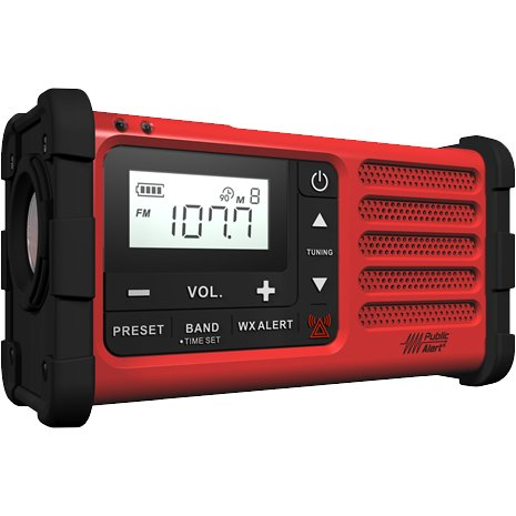 Sangean MMR-88 RED AM/FM/Weather+Alert Emergency Radio. Solar/Hand Crank/USB/Flashlight, Siren, Smartphone Charger (RED) Special Edition