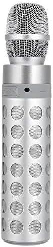 スピーカーカラオケマシン ワイヤレスマイクAUX TFカードのBluetoothスピーカーカラオケ録音マイク音楽プレーヤーホワイトピンク カラオケの歌唱ステージと野外活動のために (Color : White, Size : One size)