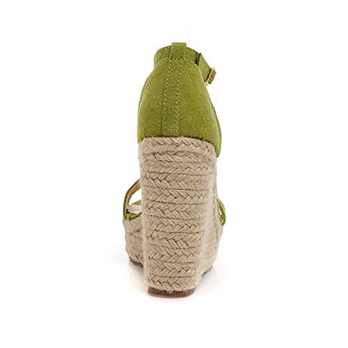 AllhqFashion Mujeres Puntera Abierta Hebilla Sintético Sólido Plataforma Sandalia Verde