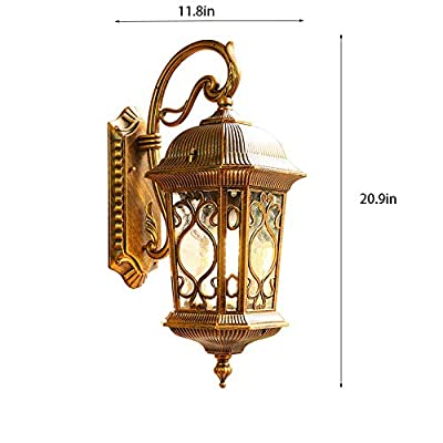 Carl Artbay Vintage Wall Light Classical Traditional Wall Lamp Lanterns E27 European Villa Garden Outdoor Waterproof Exterior Wall Sconces for Fence Path Courtyard Unique Night Wall Mounted Lighting