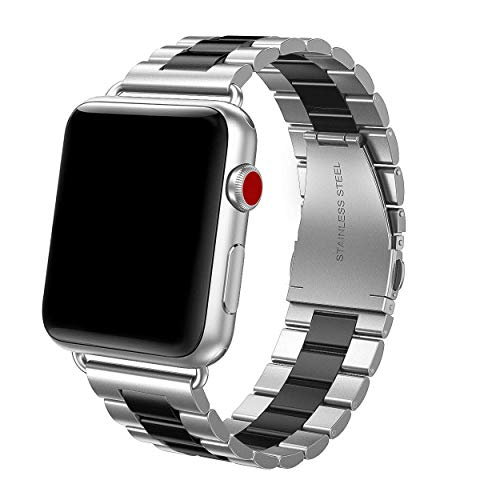 (Yutior Metal Bands Compatible with Apple Watch 42mm 44mm Series 4, Series 3, Series 2, Series 1 Sports & Edition, Stainless Steel Replacement Link Double Button Butterfly Folding Clasp, Silver/Black)