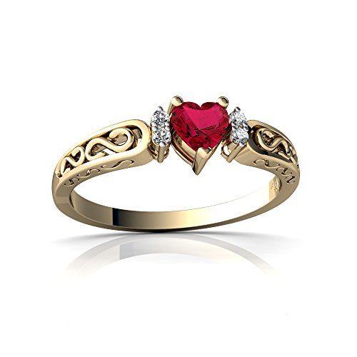 14kt Yellow Gold Lab Ruby and Diamond 4mm Heart filligree Scroll Ring - Size 8