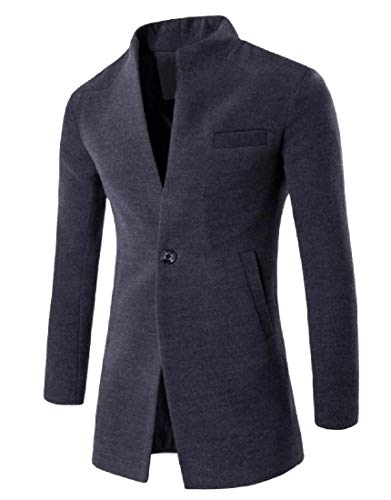 (Comaba Mens Textured Wool and Warm Windproof One Button Pea Coat Dark Grey S)