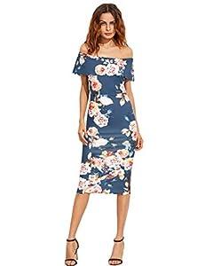 MAKEMECHIC Women's Floral Pencil Dress Knee Length Off Shoulder Cocktail Dress