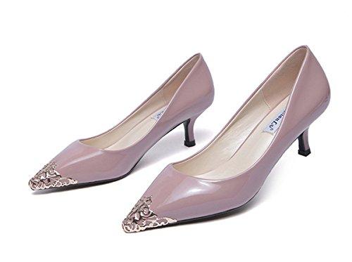 LOBTY Damen Geschlossene Pumps High Heels Pumps Sandalen damen mit absatz Abendschuhe Strap Schuhe Weiß Schwarz Lila 5 cm hohen Absatz Lila