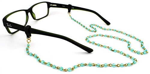 - Peeper Keepers Czech Beads & Chains, Eyeglass Retainer, Aqua w/Antique Chain, 1pk, w/Cloth & Screwdriver