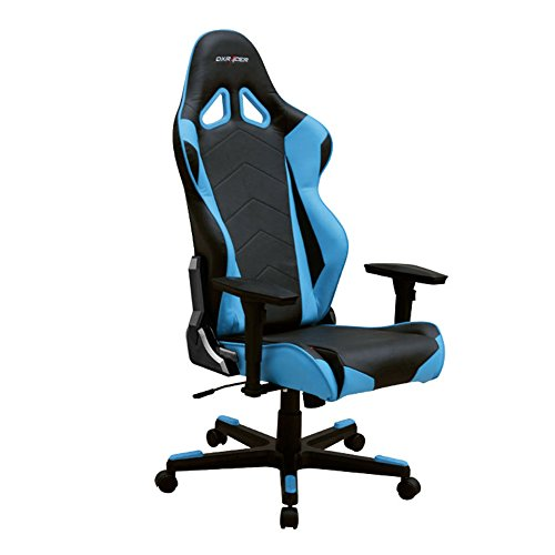 41M%2BKMDyCNL - DXRacer-RE0NB-Black-Blue-Racing-Bucket-Seat-Office-Chair-Gaming-Ergonomic-with-Lumbar-Support-Blue