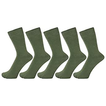 ZAKIRA Finest Combed Cotton Dress Socks in Plain Vivid Colours for Men, Women - Pack of 5 (Army Green, US 6-9)