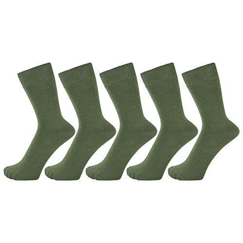 Olive Green Colour - ZAKIRA Finest Combed Cotton Dress Socks in Plain Vivid Colours for Men, Women - Pack of 5 (Army Green, US 7-12)