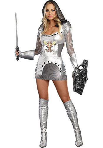 [Dreamgirl Women's Knight Time Royal Warrior Costume, Silver, Large] (Lady Knight Costume)