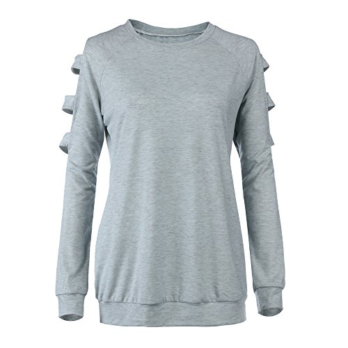 Women's Maternity Cold Shoulder Round Neck Pure Long Sleeve Side Ruching Pregnancy Shirt (L, Gray)]()