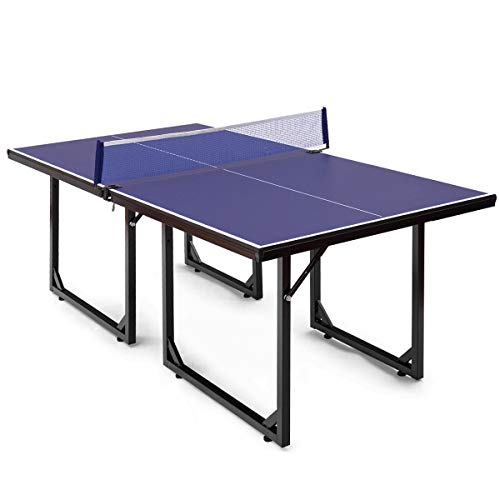 Goplus Foldable Ping Pong Table 99% Preassembled Multi-Use Midsize Compact Table Tennis with Net Indoor/Outdoor Mini Tennis Table