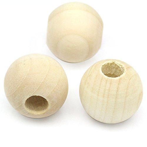 SiAura Material - 20 Stück Holzperlen 25mm mit 9mm Loch Rund, Naturfarben Zum Basteln und Bemalen