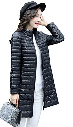 Itemnew Women's Basic Stand Collar Full Zip Quilted Long Puffer Down Jacket Duster Coat (Medium, Black) ()