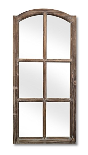 Pack of 2 Antique Brown French Farmhouse Wood Framed Mirrors 43