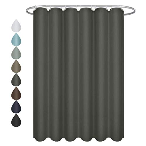 Solid Color Fabric Shower Curtain - Eforgift Solid Color Shower Curtain Polyester Fabric 100% Water Repellent with Metal Grommets, Elegant Grey Shower Curtain Home/Hotel Decor, Standard 72 x 72 inches